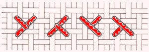 Půlkřížek, tzv. poloviční křížkový steh