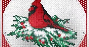 Vánoční ptáček – předloha na vyšívání