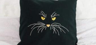 Polštář s výšivkou kočky