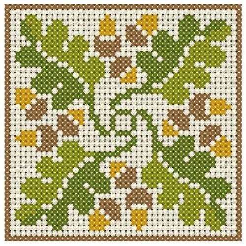 Předloha pro vyšívání - dubové listí