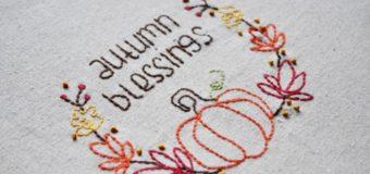 Dýně a podzimní listí – návod na vyšívání