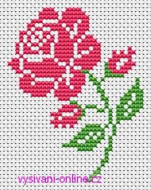 Růže - předloha pro křížkové vyšívání